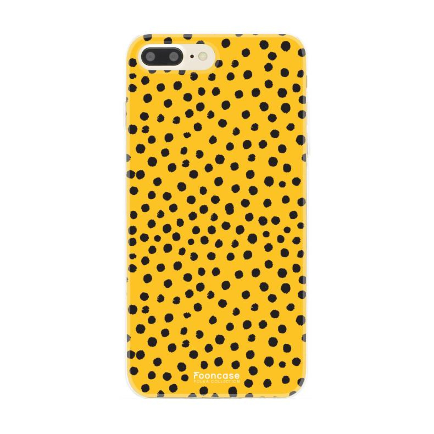 FOONCASE iPhone 7 Plus hoesje TPU Soft Case - Back Cover - POLKA COLLECTION / Stipjes / Stippen / Oker Geel
