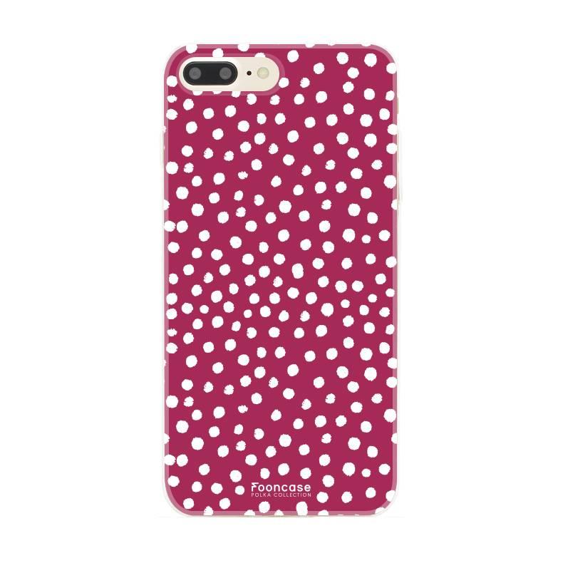 FOONCASE iPhone 8 Plus hoesje TPU Soft Case - Back Cover - POLKA COLLECTION / Stipjes / Stippen / Bordeaux Rood