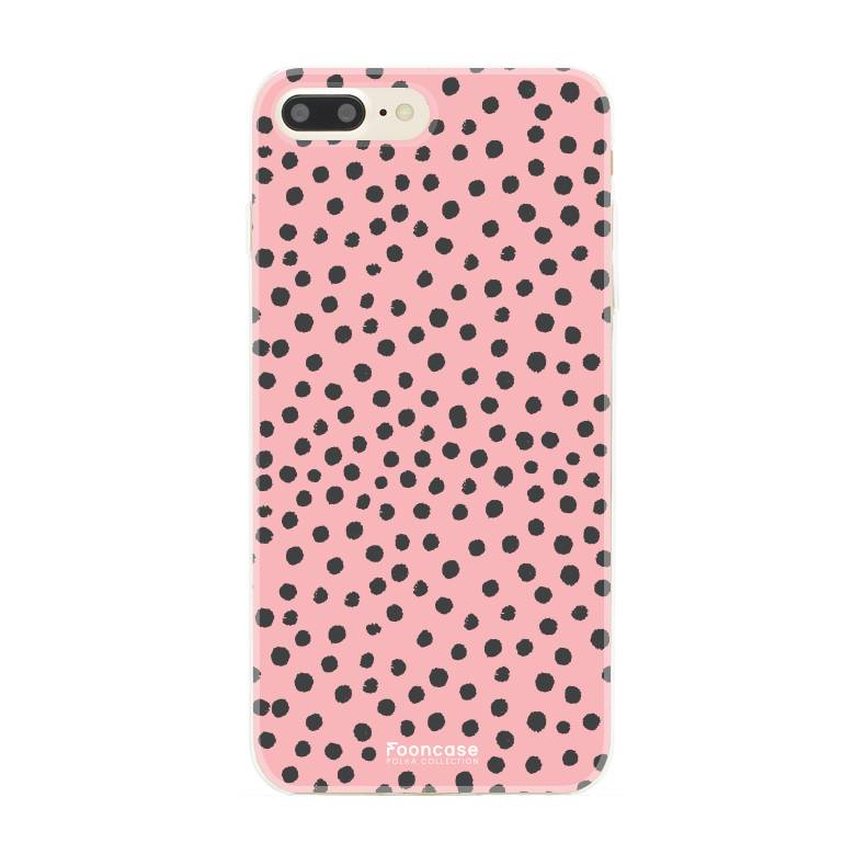 FOONCASE iPhone 8 Plus hoesje TPU Soft Case - Back Cover - POLKA COLLECTION / Stipjes / Stippen / Roze