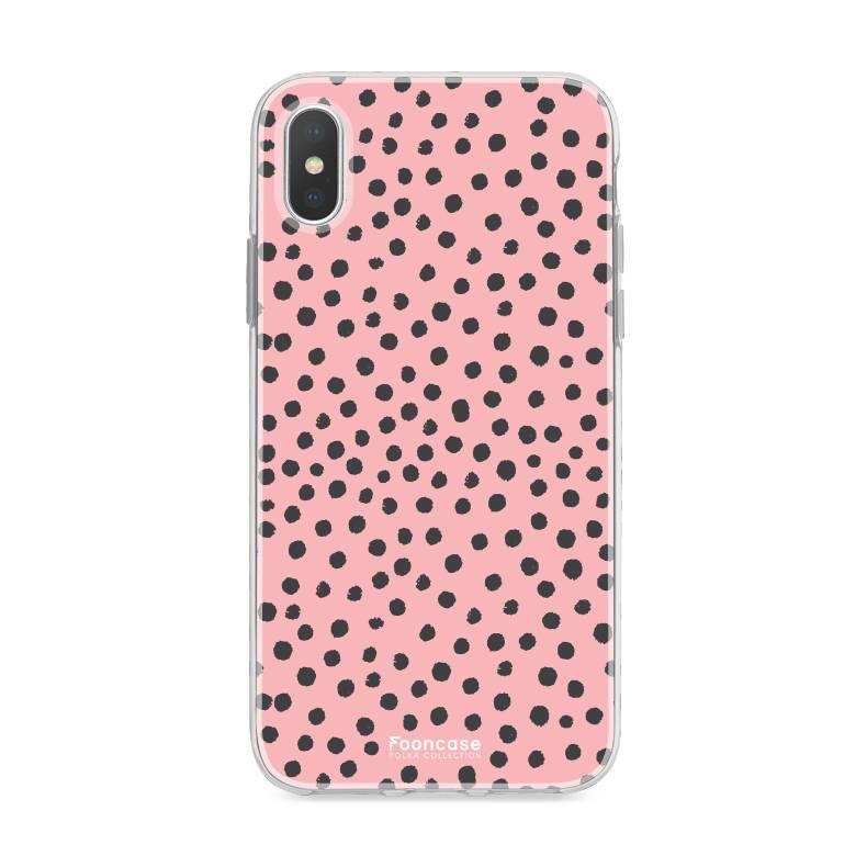 FOONCASE iPhone X hoesje TPU Soft Case - Back Cover - POLKA COLLECTION / Stipjes / Stippen / Roze