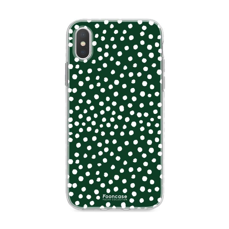 FOONCASE iPhone X hoesje TPU Soft Case - Back Cover - POLKA COLLECTION / Stipjes / Stippen / Donker Groen