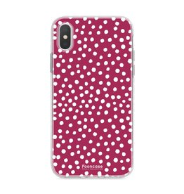FOONCASE Iphone XS - POLKA COLLECTION / BordeauXS Rood