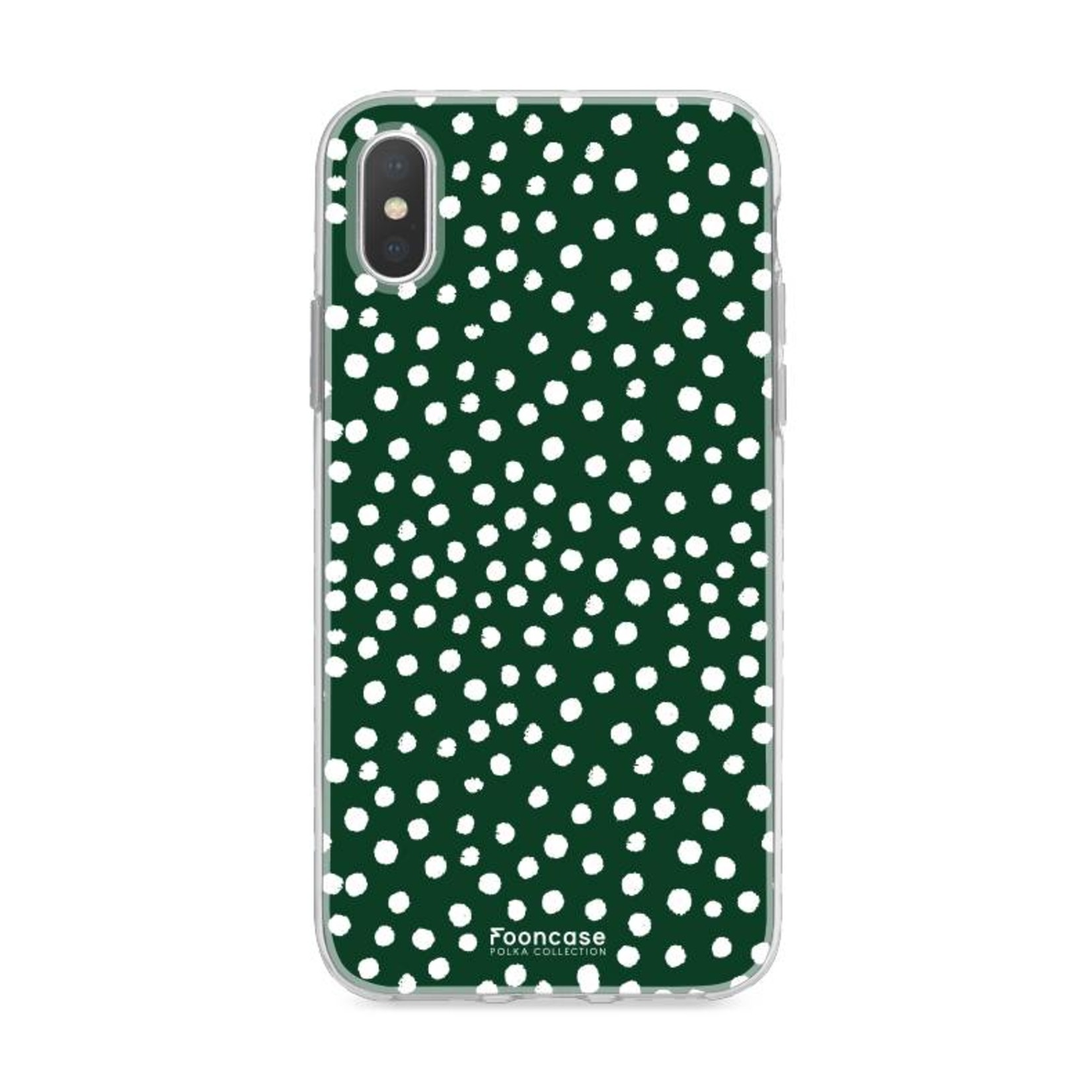 FOONCASE iPhone XS hoesje TPU Soft Case - Back Cover - POLKA COLLECTION / Stipjes / Stippen / Donker Groen