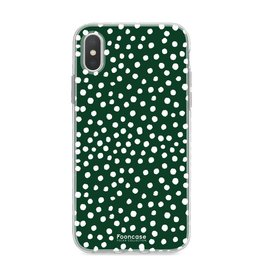 FOONCASE Iphone XS - POLKA COLLECTION / Donker Groen