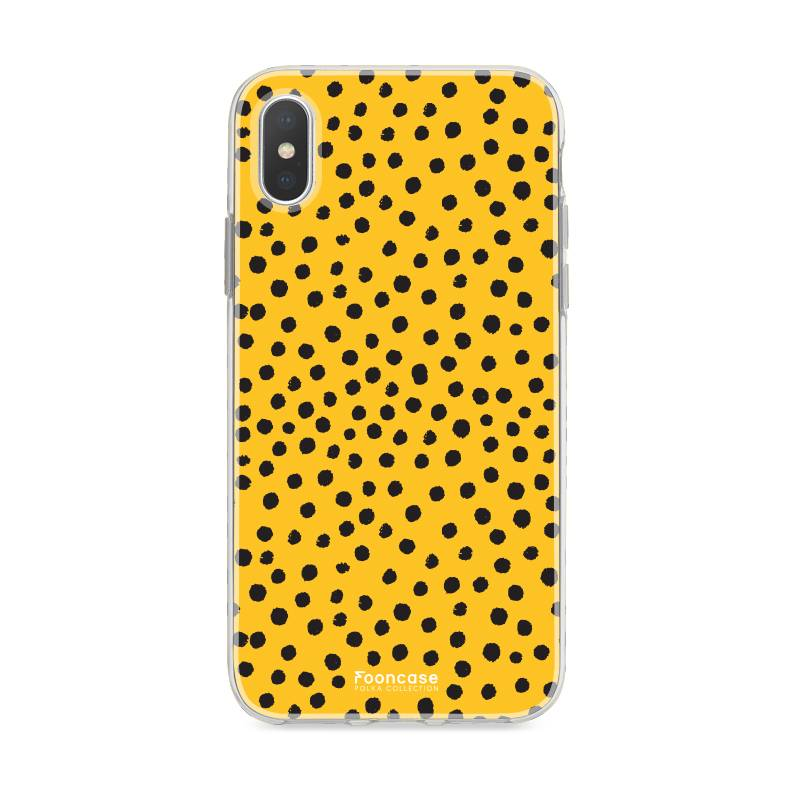 FOONCASE iPhone XS hoesje TPU Soft Case - Back Cover - POLKA COLLECTION / Stipjes / Stippen / Oker Geel