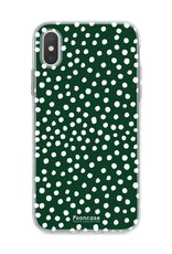 FOONCASE iPhone XS Max hoesje TPU Soft Case - Back Cover - POLKA COLLECTION / Stipjes / Stippen / Donker Groen