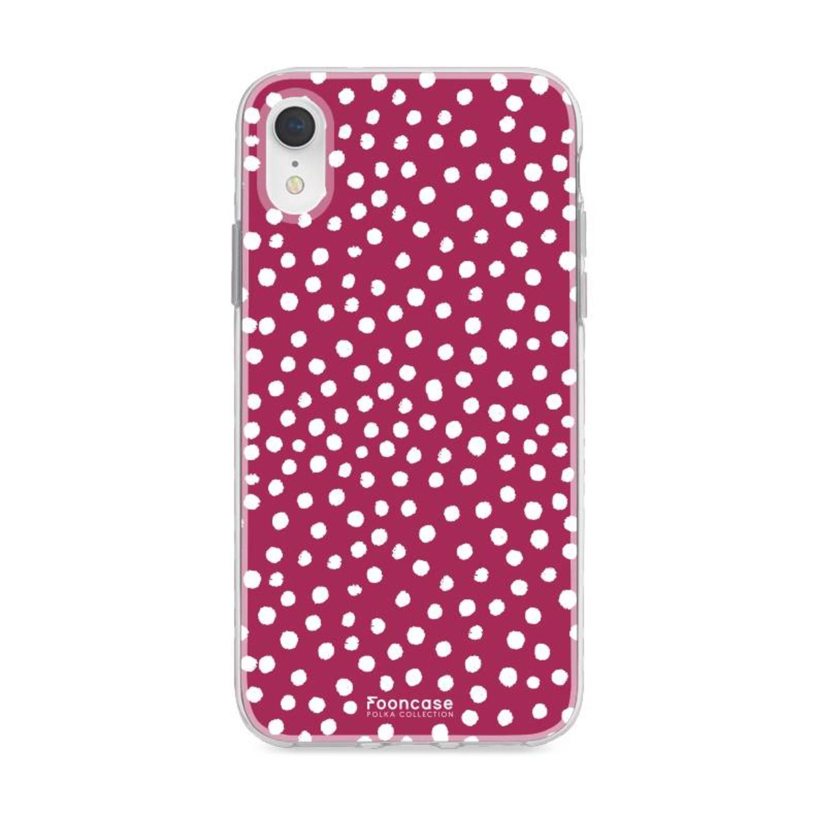 FOONCASE iPhone XR hoesje TPU Soft Case - Back Cover - POLKA COLLECTION / Stipjes / Stippen / Bordeaux Rood