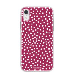 FOONCASE Iphone XR - POLKA COLLECTION / Bordeaux Rood