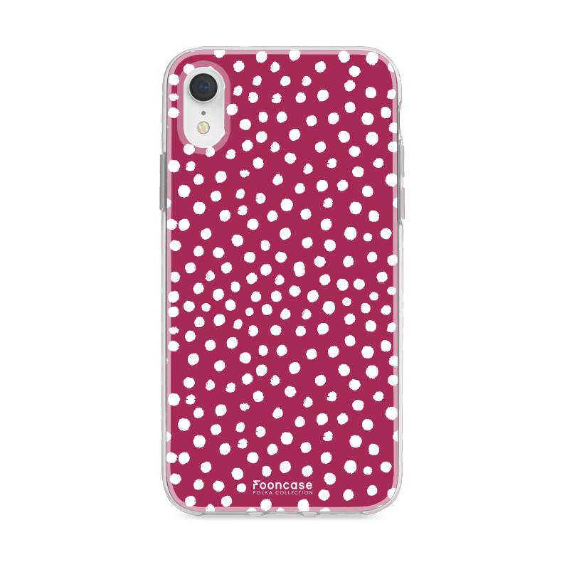 FOONCASE iPhone XR hoesje TPU Soft Case - Back Cover - POLKA COLLECTION / Stipjes / Stippen / Bordeaux Rood