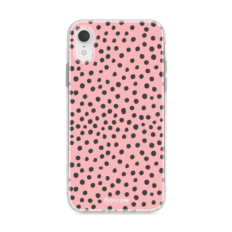 FOONCASE iPhone XR hoesje TPU Soft Case - Back Cover - POLKA COLLECTION / Stipjes / Stippen / Roze