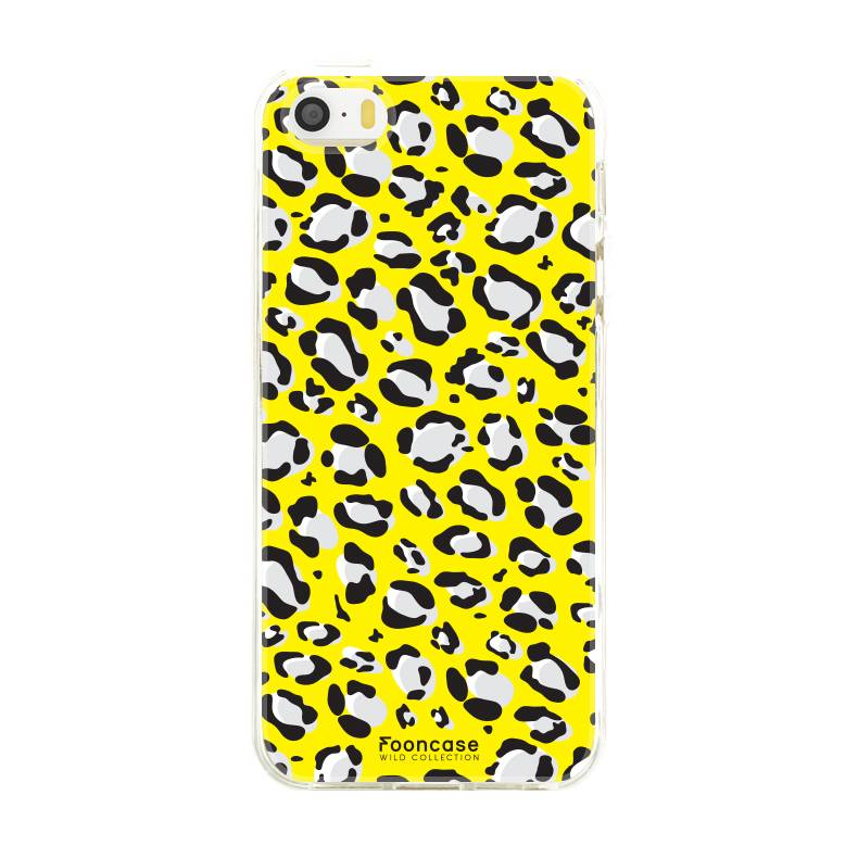 FOONCASE iPhone 5/5S hoesje TPU Soft Case - Back Cover - WILD COLLECTION / Luipaard / Leopard print / Geel