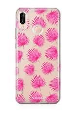 Huawei Huawei P20 Lite hoesje - Pink leaves