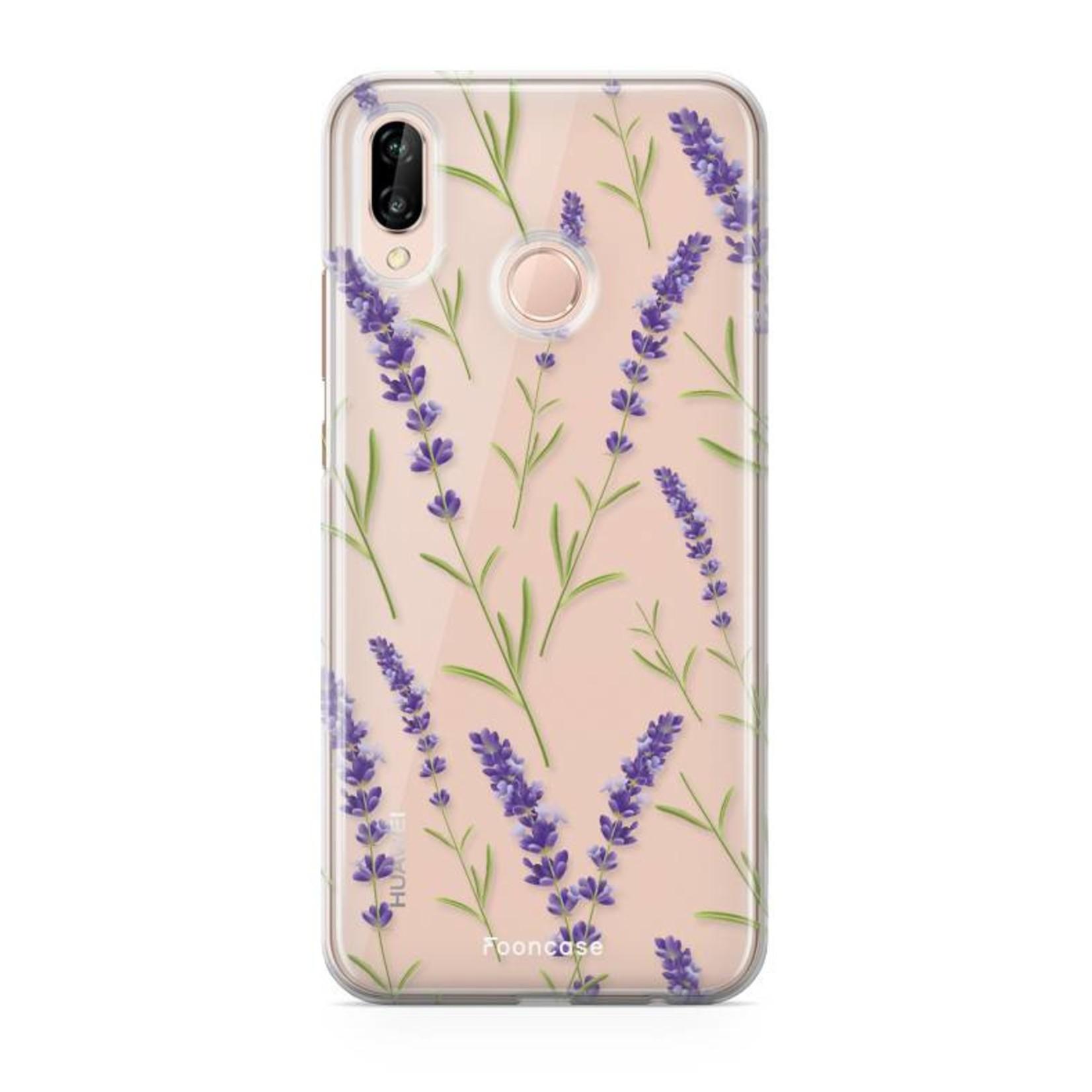 FOONCASE Huawei P20 Lite hoesje TPU Soft Case - Back Cover - Purple Flower / Paarse bloemen