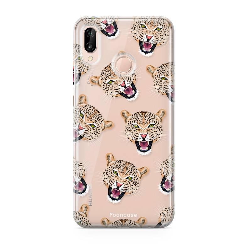 FOONCASE Huawei P20 Lite hoesje TPU Soft Case - Back Cover - Cheeky Leopard / Luipaard hoofden