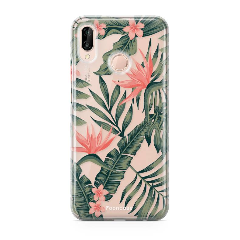 FOONCASE Huawei P20 Lite hoesje TPU Soft Case - Back Cover - Tropical Desire / Bladeren / Roze