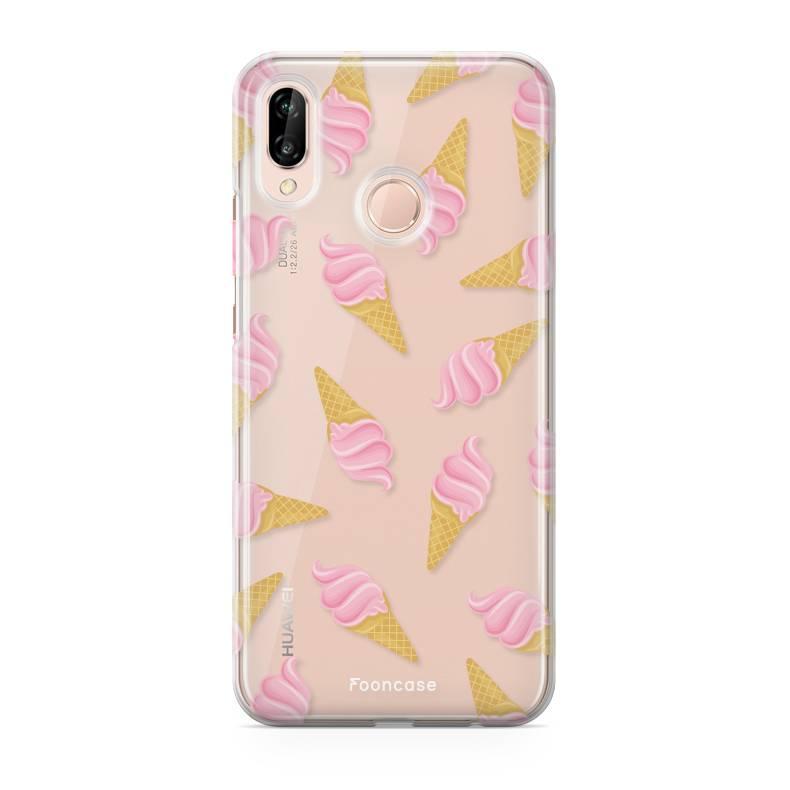 FOONCASE Huawei P20 Lite hoesje TPU Soft Case - Back Cover - Ice Ice Baby / Ijsjes / Roze ijsjes