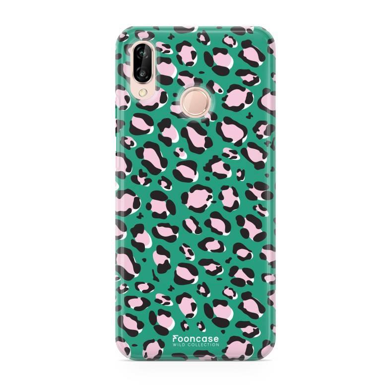 FOONCASE Huawei P20 Lite hoesje TPU Soft Case - Back Cover - WILD COLLECTION / Luipaard / Leopard print / Groen