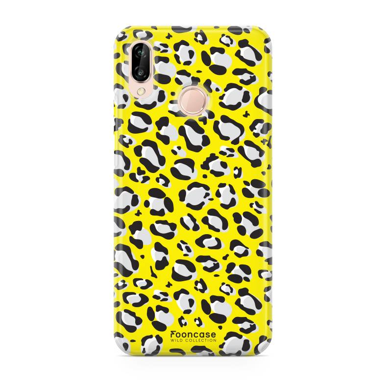 FOONCASE Huawei P20 Lite hoesje TPU Soft Case - Back Cover - WILD COLLECTION / Luipaard / Leopard print / Geel