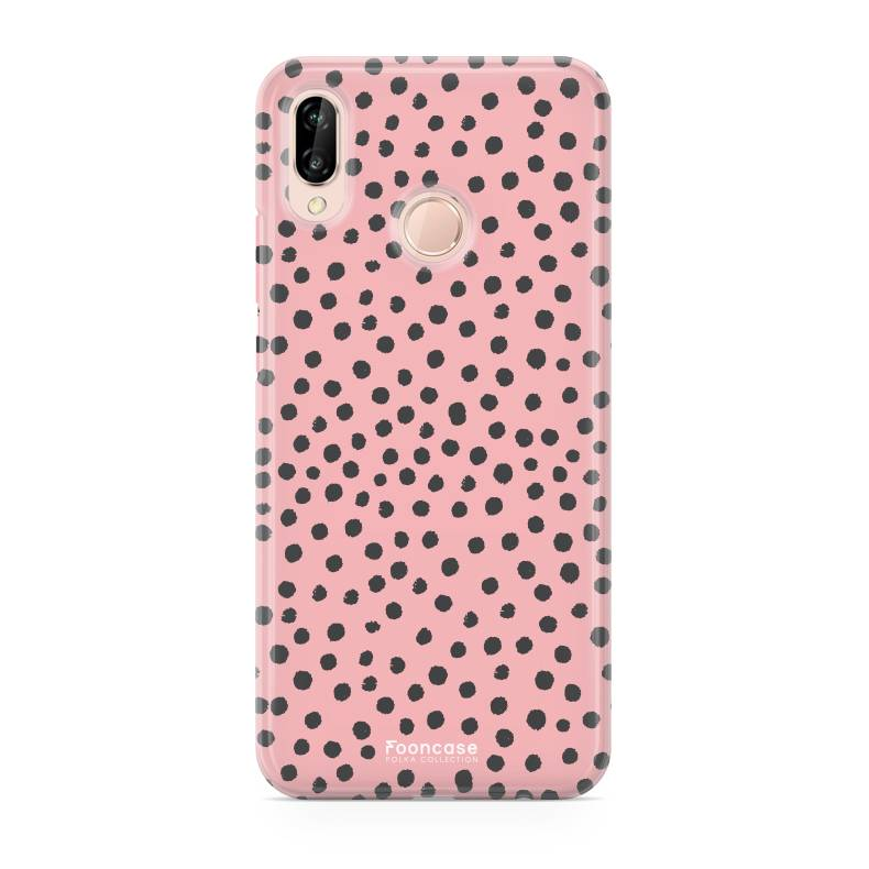 FOONCASE Huawei P20 Lite hoesje TPU Soft Case - Back Cover - POLKA COLLECTION / Stipjes / Stippen / Roze