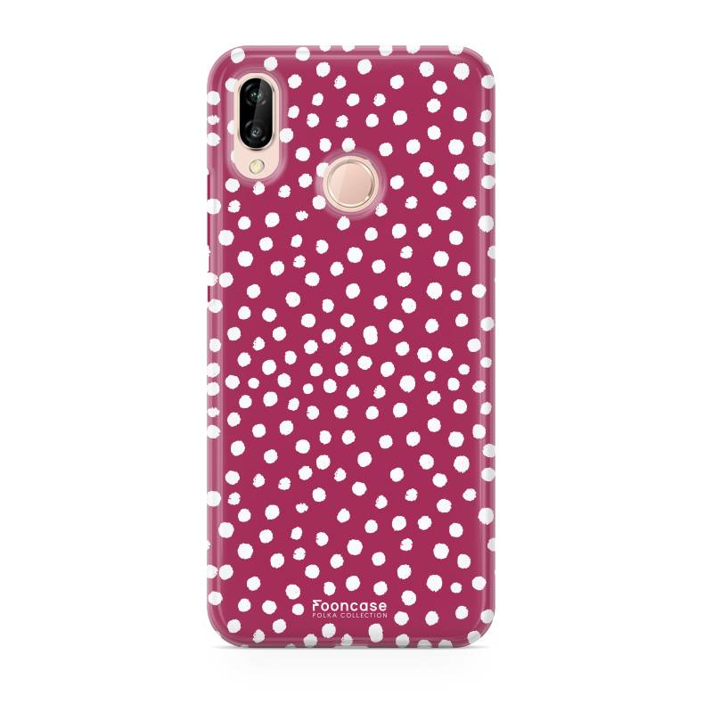 FOONCASE | Polka Collection Rosso Cover per Huawei P20 Lite