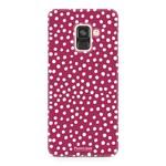 FOONCASE Samsung Galaxy A8 2018 - POLKA COLLECTION / Red