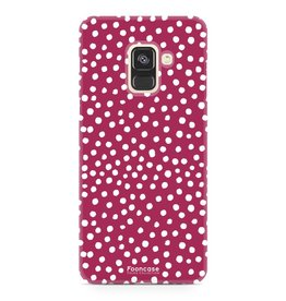 FOONCASE Samsung Galaxy A8 2018 - POLKA COLLECTION / Red