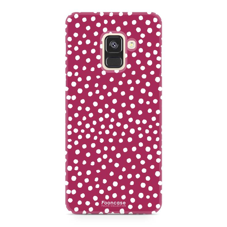 FOONCASE Samsung Galaxy A8 2018 hoesje TPU Soft Case - Back Cover - POLKA COLLECTION / Stipjes / Stippen / Rood