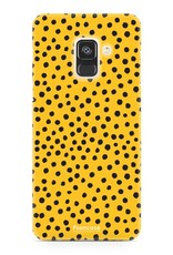 FOONCASE Samsung Galaxy A8 2018 hoesje TPU Soft Case - Back Cover - POLKA COLLECTION / Stipjes / Stippen / Oker Geel