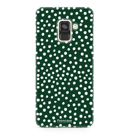 FOONCASE Samsung Galaxy A8 2018 - POLKA COLLECTION / Donker Groen