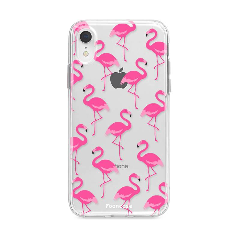 FOONCASE iPhone XR hoesje TPU Siliconen Soft Case - Transparant - Back Cover (Shock proof) - Flamingo