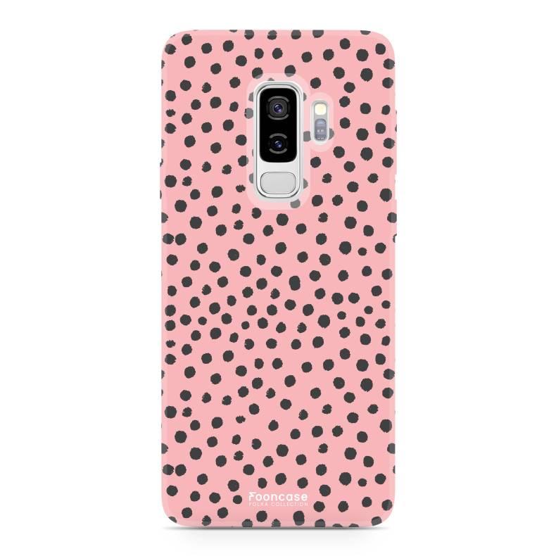 FOONCASE Samsung Galaxy S9 Plus hoesje TPU Soft Case - Back Cover - POLKA COLLECTION / Stipjes / Stippen / Roze