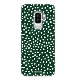 FOONCASE Samsung Galaxy S9 Plus - POLKA COLLECTION / Donker Groen