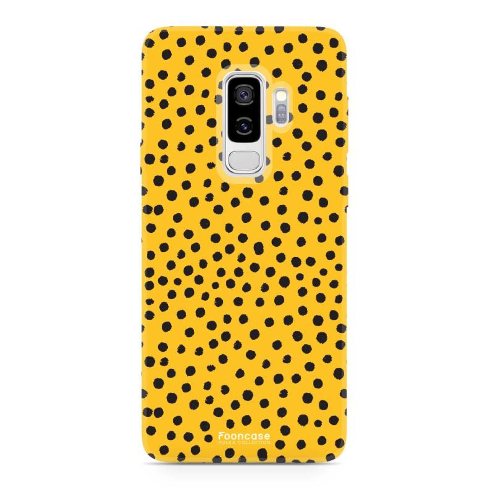 FOONCASE Samsung Galaxy S9 Plus hoesje TPU Soft Case - Back Cover - POLKA COLLECTION / Stipjes / Stippen / Oker Geel