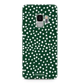 FOONCASE Samsung Galaxy S9 - POLKA COLLECTION / Donker Groen