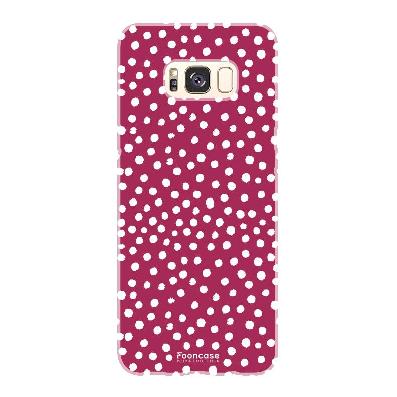 FOONCASE Samsung Galaxy S8 hoesje TPU Soft Case - Back Cover - POLKA COLLECTION / Stipjes / Stippen / Rood