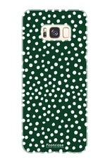 FOONCASE Samsung Galaxy S8 hoesje TPU Soft Case - Back Cover - POLKA COLLECTION / Stipjes / Stippen / Donker Groen