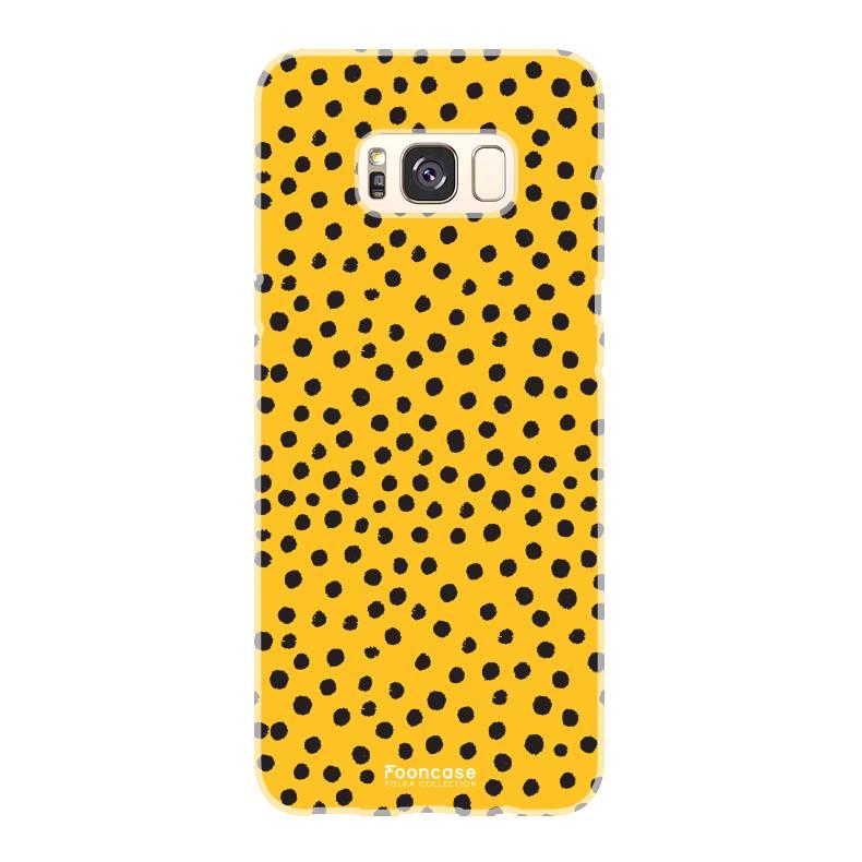 FOONCASE Samsung Galaxy S8 hoesje TPU Soft Case - Back Cover - POLKA COLLECTION / Stipjes / Stippen / Oker Geel