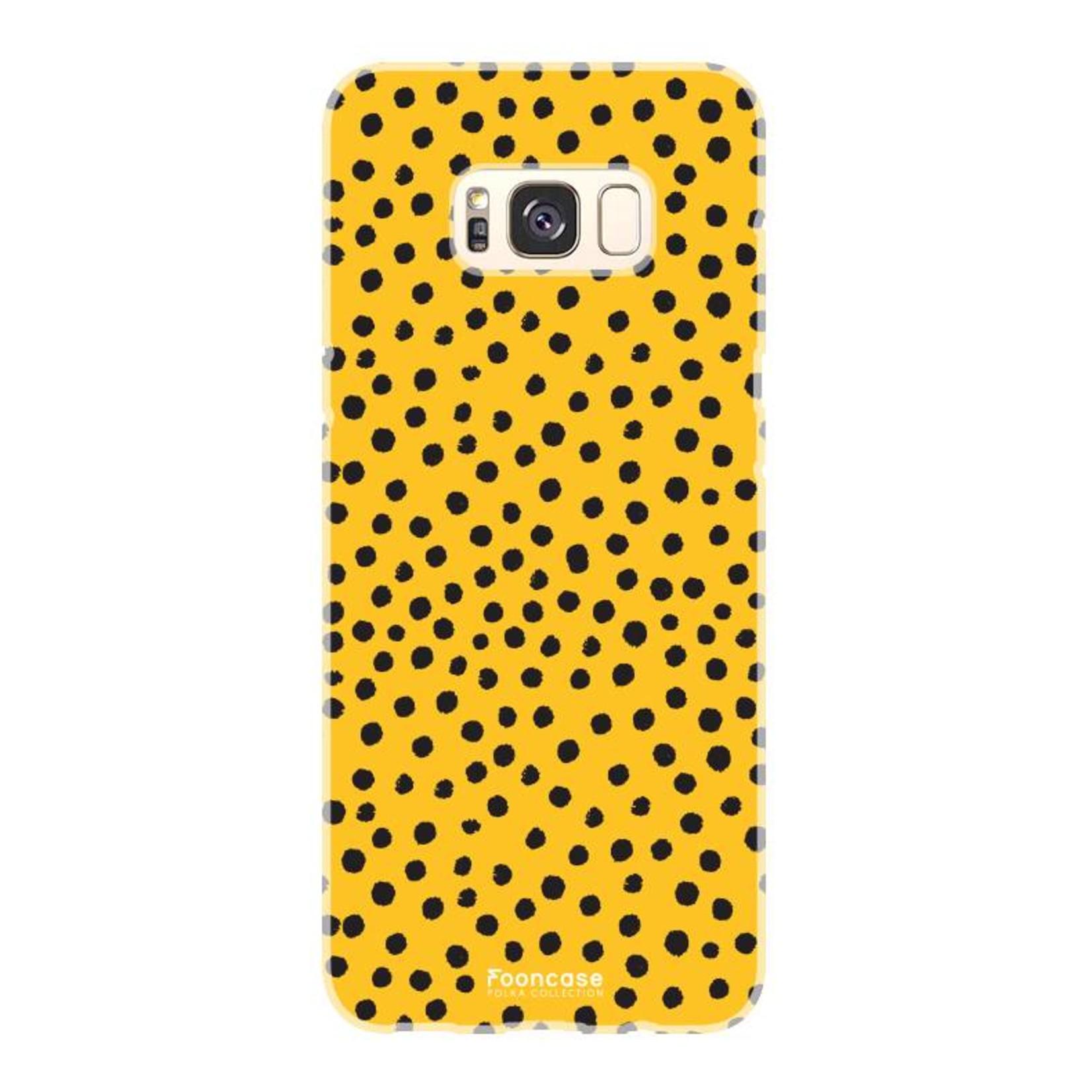 FOONCASE Samsung Galaxy S8 Plus hoesje TPU Soft Case - Back Cover - POLKA COLLECTION / Stipjes / Stippen / Oker Geel