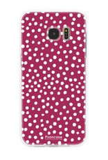FOONCASE Samsung Galaxy S7 Edge hoesje TPU Soft Case - Back Cover - POLKA COLLECTION / Stipjes / Stippen / Rood