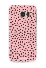 FOONCASE Samsung Galaxy S7 Edge hoesje TPU Soft Case - Back Cover - POLKA COLLECTION / Stipjes / Stippen / Roze