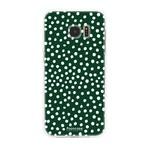 FOONCASE Samsung Galaxy S7 Edge - POLKA COLLECTION / Dunkelgrün