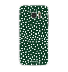 FOONCASE Samsung Galaxy S7 Edge - POLKA COLLECTION / Dunkelgrün