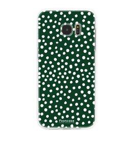 FOONCASE Samsung Galaxy S7 Edge - POLKA COLLECTION / Verde scuro