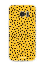 FOONCASE Samsung Galaxy S7 Edge hoesje TPU Soft Case - Back Cover - POLKA COLLECTION / Stipjes / Stippen / Oker Geel