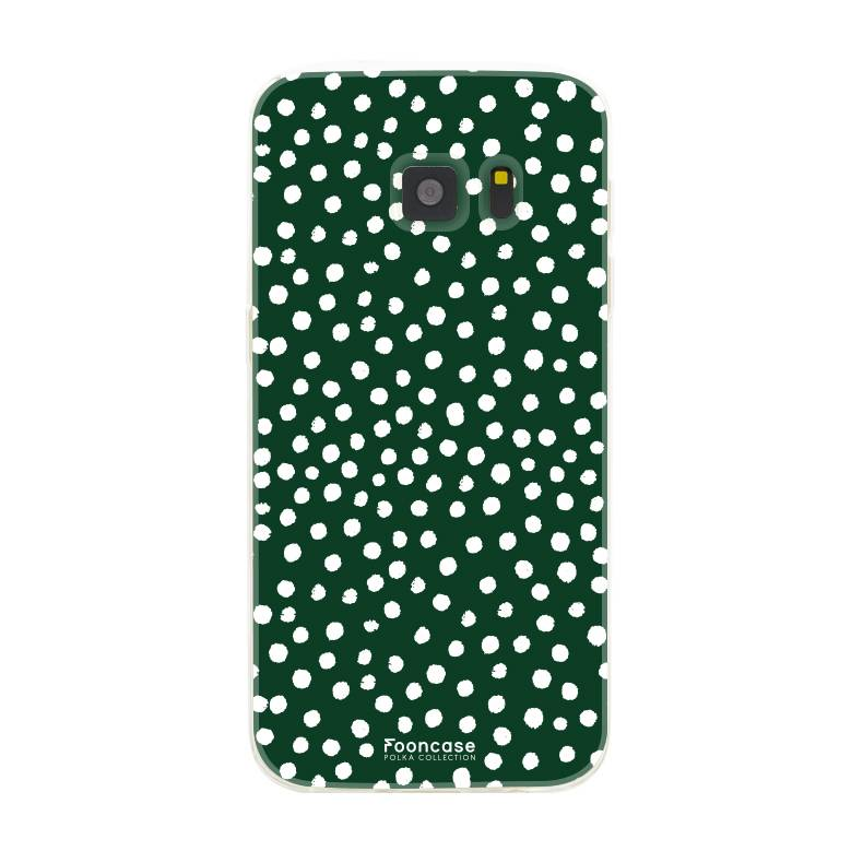 FOONCASE Samsung Galaxy S7 hoesje TPU Soft Case - Back Cover - POLKA COLLECTION / Stipjes / Stippen / Donker Groen