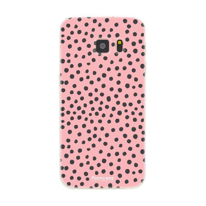 FOONCASE Samsung Galaxy S7 hoesje TPU Soft Case - Back Cover - POLKA COLLECTION / Stipjes / Stippen / Roze