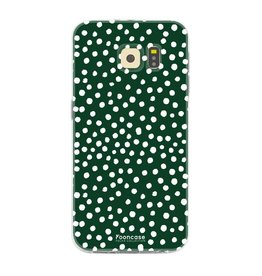 FOONCASE Samsung Galaxy S6 Edge - POLKA COLLECTION / Donker Groen