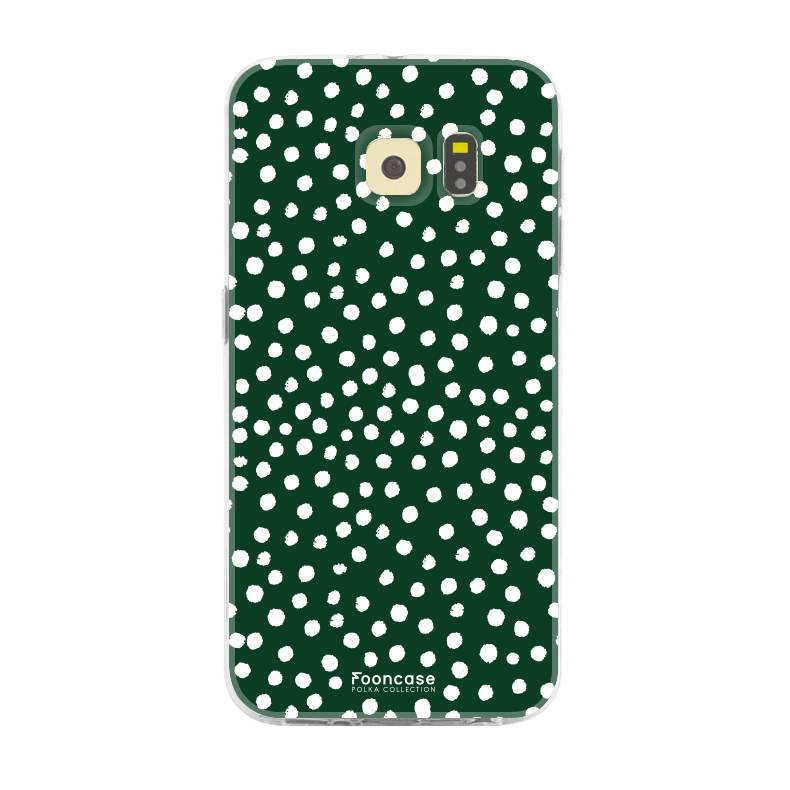 FOONCASE Samsung Galaxy S6 Edge hoesje TPU Soft Case - Back Cover - POLKA COLLECTION / Stipjes / Stippen / Donker Groen