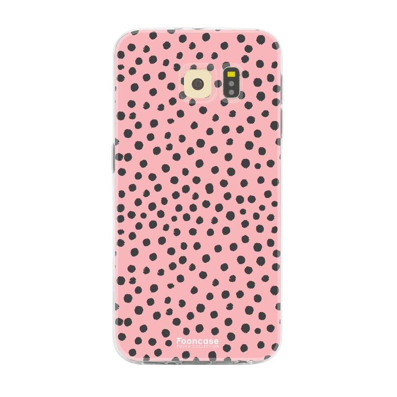 FOONCASE Samsung Galaxy S6 Edge hoesje TPU Soft Case - Back Cover - POLKA COLLECTION / Stipjes / Stippen / Roze