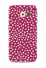 FOONCASE Samsung Galaxy S6 Edge hoesje TPU Soft Case - Back Cover - POLKA COLLECTION / Stipjes / Stippen / Rood